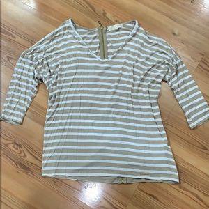 Michael Kors beige stripe zip top Size XL
